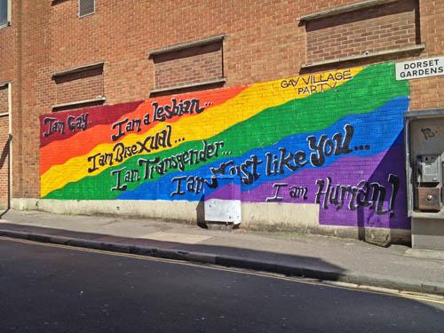 Painted Pride flag, Brighton, UK.  © J. L. Stapleton. 18th March 2013