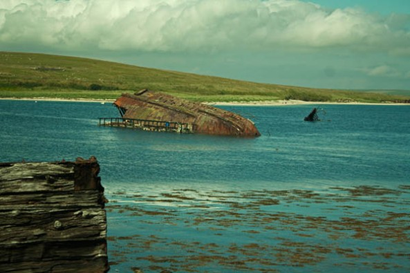 Sunken Ships, Scapa Flow, Orkney. © J. Lynn Stapleton, 27th July 2013