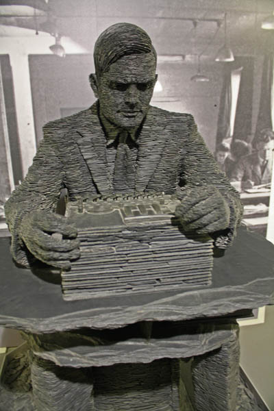 Slate statue of Alan Turing by Stephen Kettle, Bletchley Park Museum, Milton-Keynes, UK. © J. Lynn Stapleton, 6th August 2013