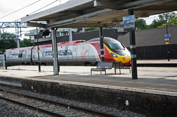 Virgin Train, Bletchley Park Rail Station, Milton-Keynes, UK. © J. Lynn Stapleton, 6th August 2013